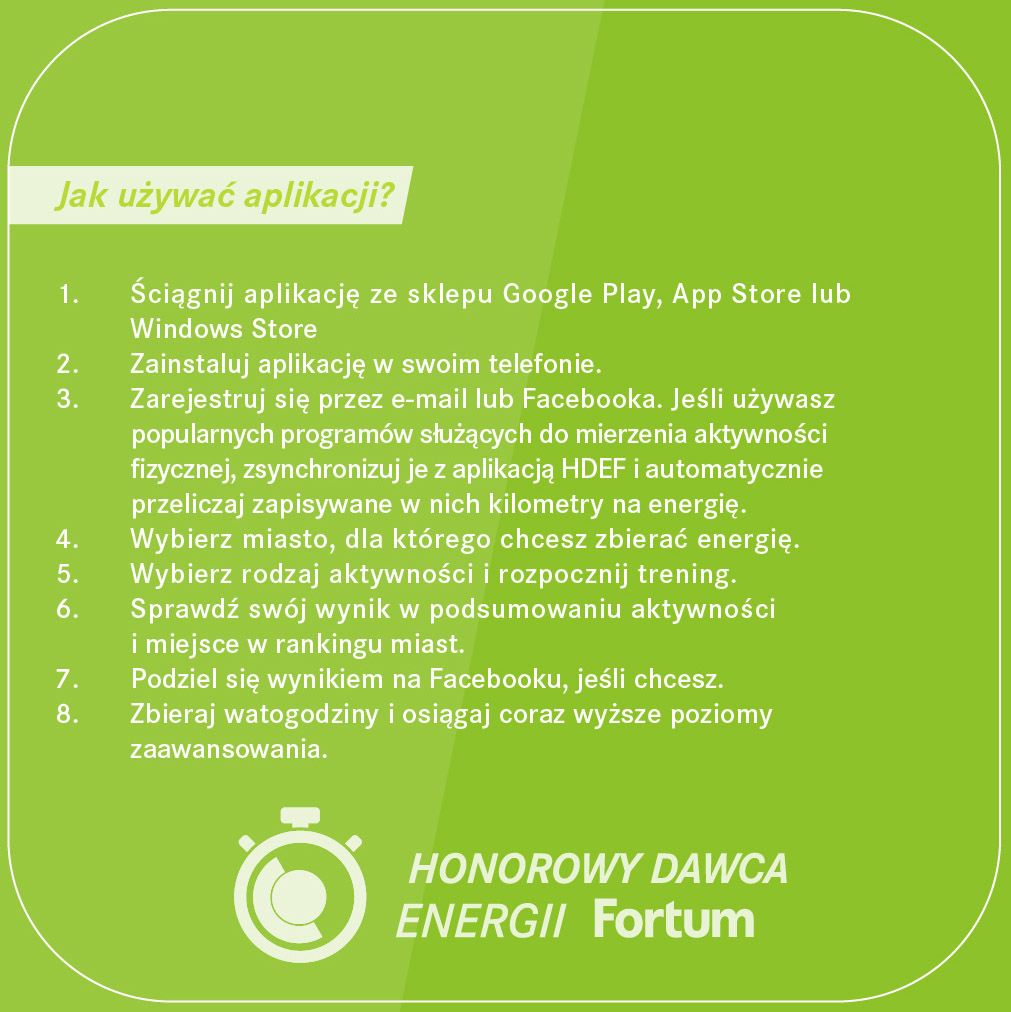 fortum ulotka informacyjna o akcji Honorowy Dawca Energii Fortum